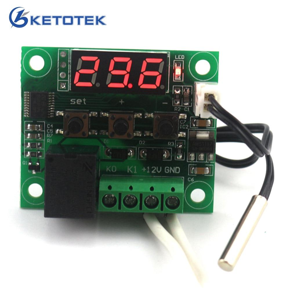 DC 12V digitaalne termilise jahutusega termostaadilüliti temperatuuriregulaator Miniatuurne temperatuuri juhtimislüliti paneel