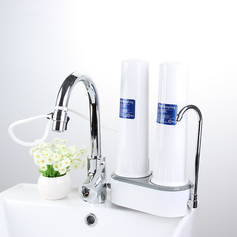 Countertop Water Purifier Faucet Dual-Stage Filtration For Home Kitchen Ceramic Candle Filter & Carbon Block Filter