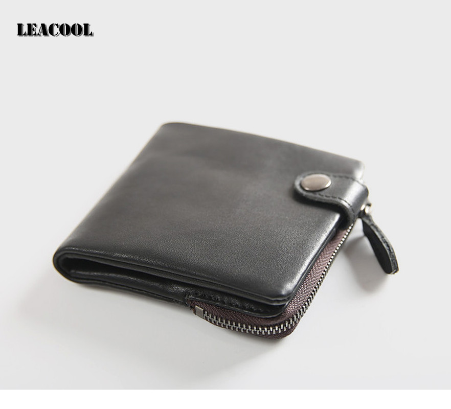 Leacool Wallet Men 100% Genuine Leather Short Wallet Vintage Cow Leather Casual Men Wallet Purse Standard Holders Wallets etya men s wallet genuine leather short