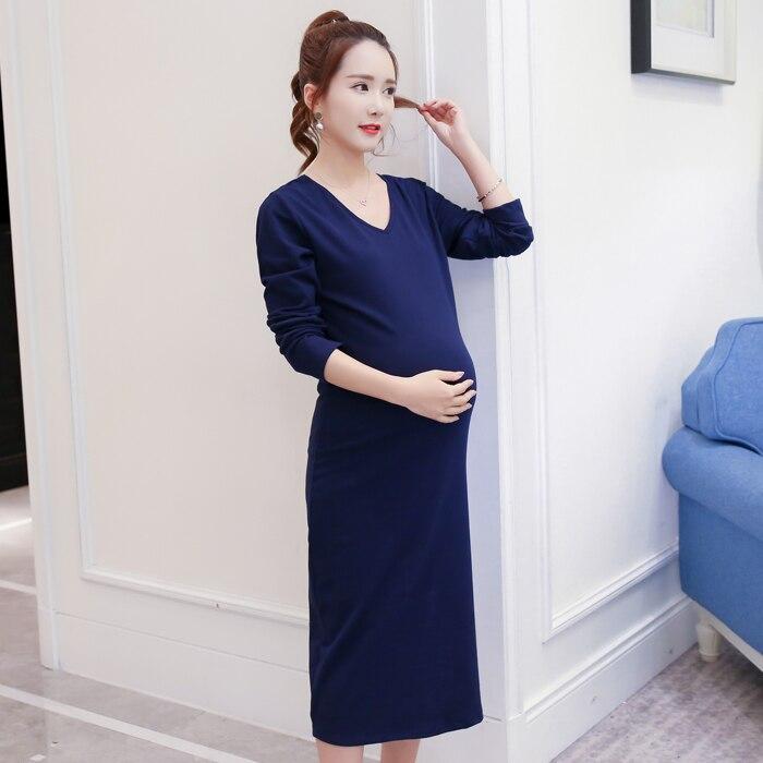 Spring Autumn Pregnant Women Long Dress Formal Maternity Dresses For