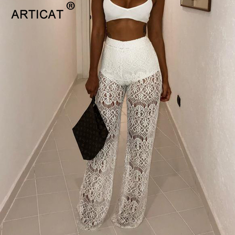 Articat White Hollow Out Women Sexy Lace   Pants   2018 High Waist Crochet Transparent   Wide     Leg     Pants   Casual Party Women Trousers