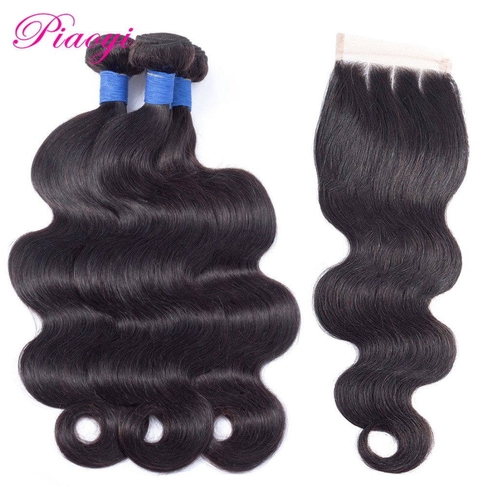 Piaoyi Peruvian Body Wave Hair 3 Bundles With Closure Remy Human Hair Weave Bundles With Lace Closure 4 Pcs Lot Natural Color