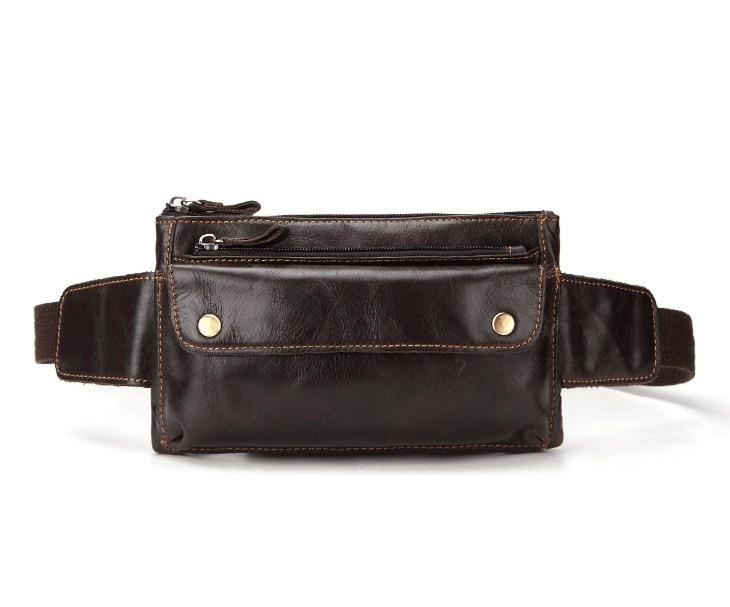 Out door casual genuine leather belt bag men sport bag