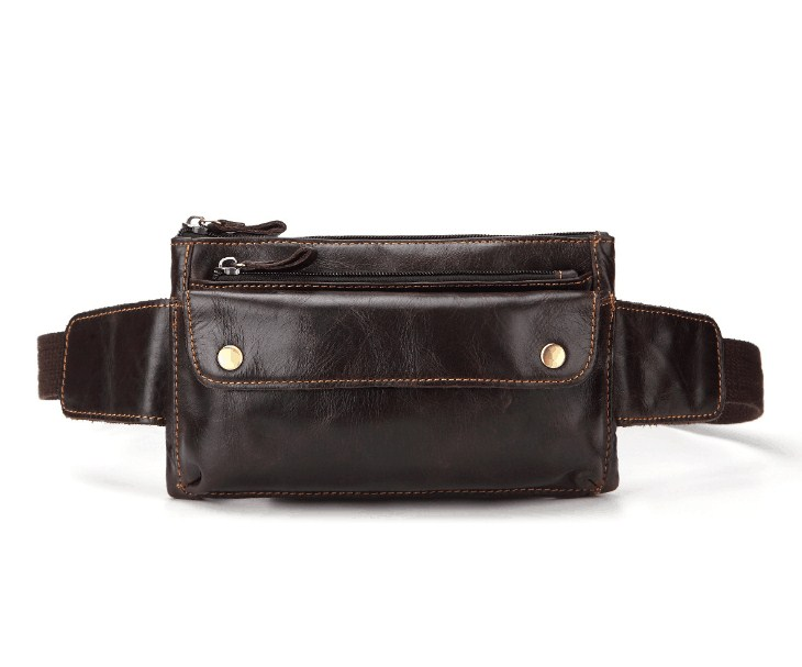 Out Door Casual Genuine Leather Belt Bag Men Sport Bag
