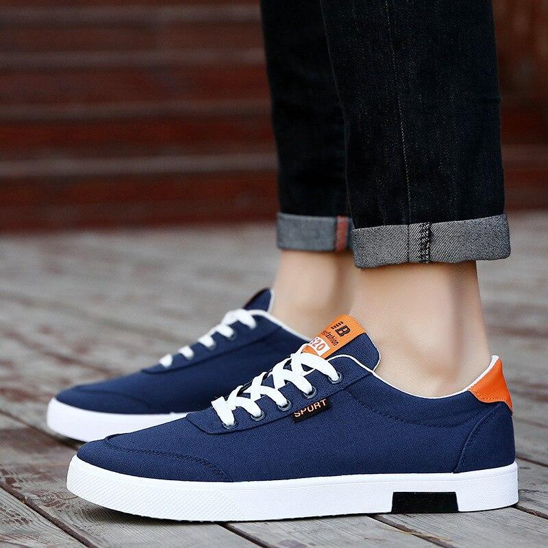 Transpirable Zapatos Zapatillas azul Hombre Trend Estudiantes Hombres blanco Negro 2018 Moda De Blanco Casual Lona Tablero Nueva 147nPxW