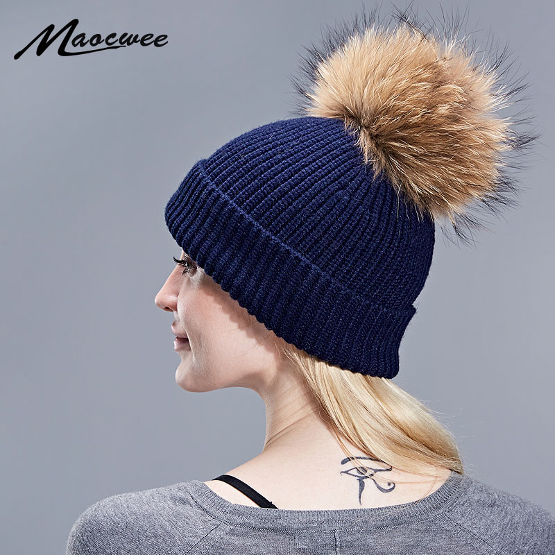 Removable Real Fur Pompon Bobble Hats For Women   Skullies     Beanies   Warm Stocking Hat 2018 Autumn Cap Winter Hat Female