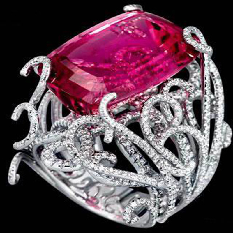 Anillos Qi Xuan_Fashion bijouterie _ personnalisé grande pierre rouge luxe Rings_S925 solide argent rouge pierre Rings_Factory directement ventes