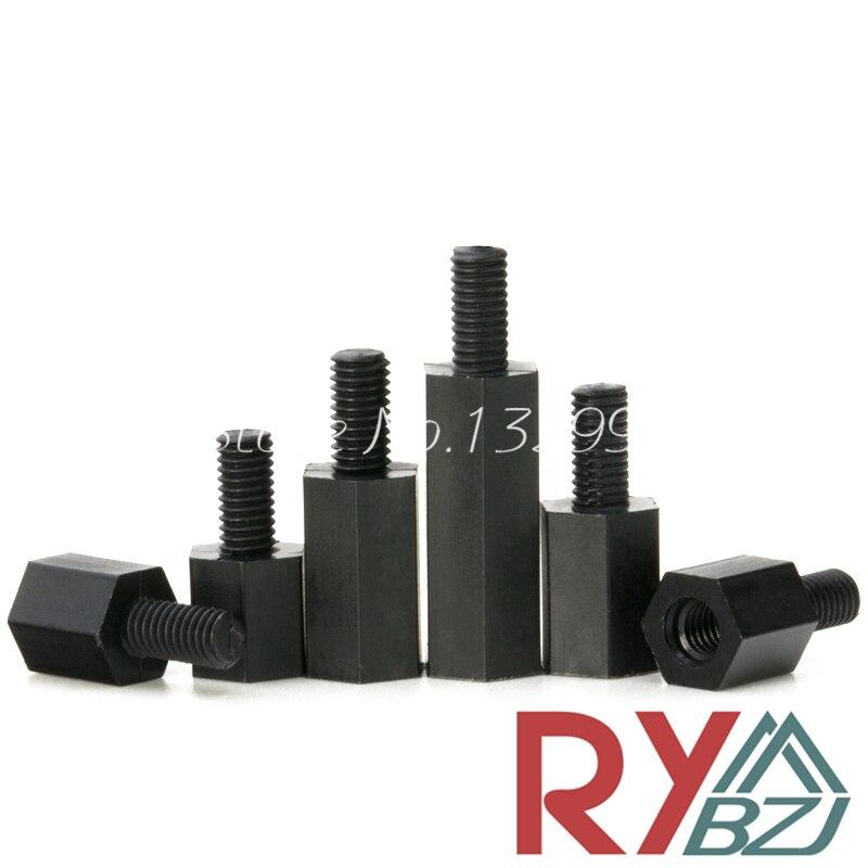 Nylon Standoff Spacer Male Female Black color M2 M2.5 M3 M4*L+6 Nylon hex spacer Nylon nut Nylon screw