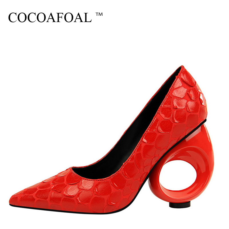 COCOAFOAL Woman Red Wedding High Heels Shoes Fashion Red Sexy Pumps Shallow White Pointed Toe Bridal Shoes Calzado Mujer 2018 bigtree summer fashion women high heels sandals suede shallow mouth pointed pearl ladies sandals sexy wedding red woman shoes