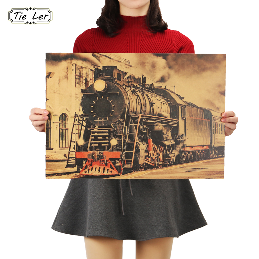 TIE LER Vintage Steam Train Nostalgic Vintage Kraft Paper Poster Decoration Painting Wall Stickers 36 X 51 5cm in Wall Stickers from Home Garden