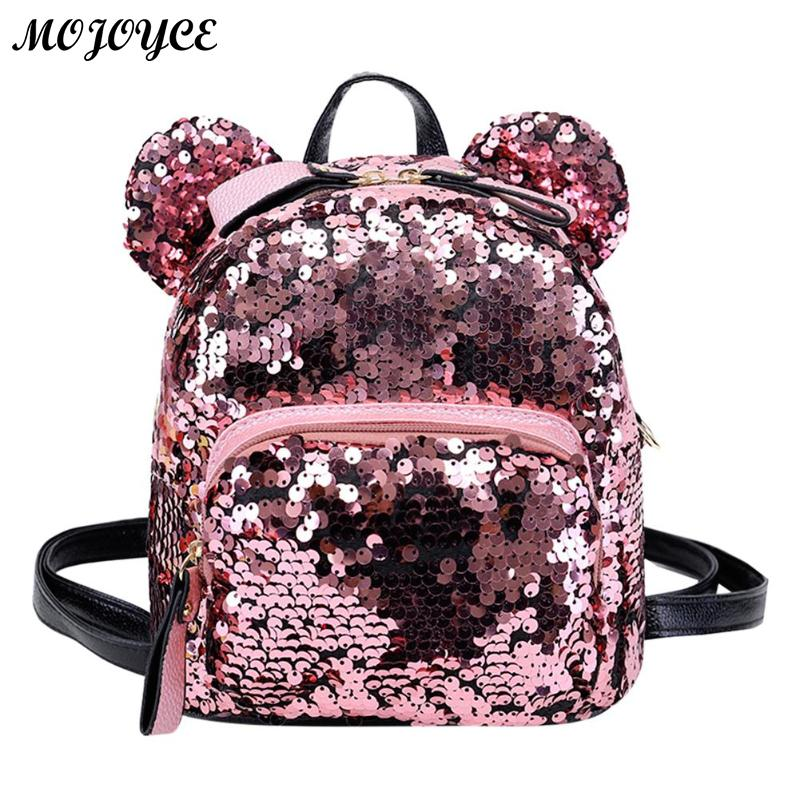 Shining Women Sequins Backpacks Teenage Girls Travel Large Capacity - Rugzakken