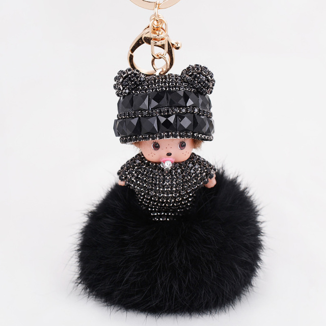 Monchichi luxury keychain Crystal Rhinestone women bag monchichi sleutelhanger strass key chain Fur Ball pendants Keyrings