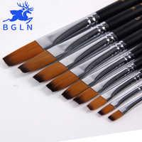 Bgln 9 unids/set pincel de pintura artística para acuarela, acrílico, óleo, arte, pintura facial, pinceles de pintura de mango largo plano suministros de arte