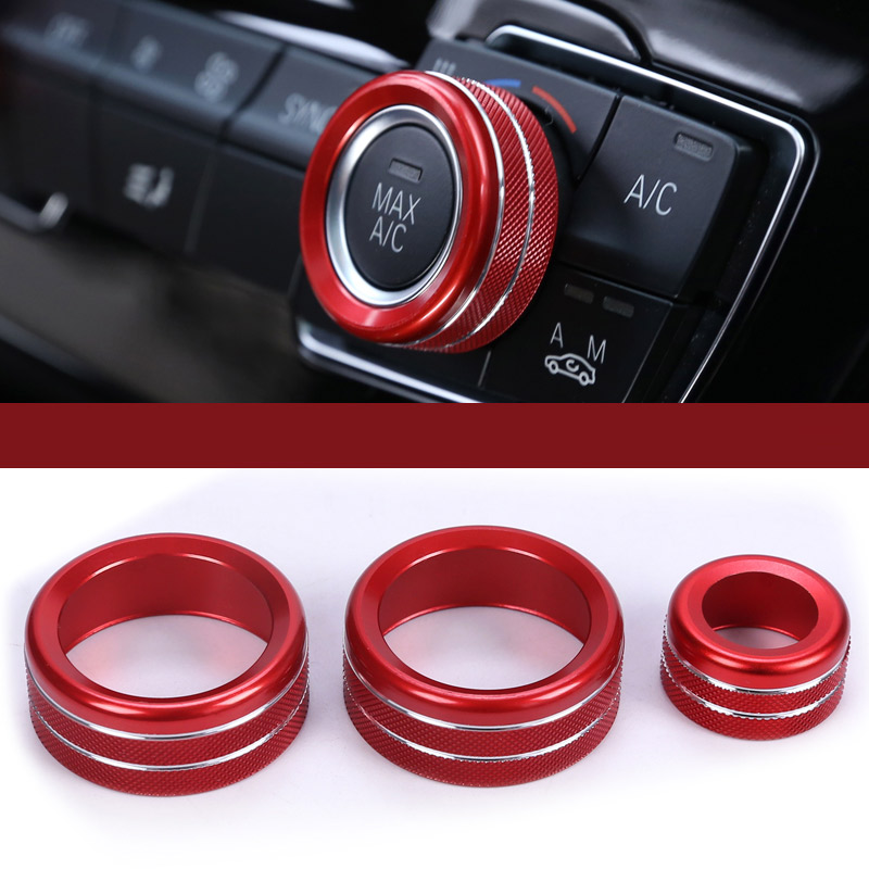 3Pcs For BMW 1 2 3 4 Series F30 F34 F46 GT X1 F47 F48 13-17 Car Styling Air Conditioning Knobs Audio Circle Trim Alloy Accessory car styling rear seat air conditioning vents decoration frame cover trim stickers accessories for bmw f30 3 series gt 320i 328i