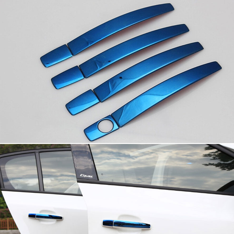 BBQ@FUKA Blue Stainless Steel Car Door Handle Cover Molding Trims Sticker Metal Fit For Cruze 2009-2014 Car Decal Styling
