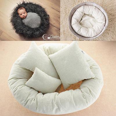 4Pcs Newborn Fotografia Props Anel Ciclo Forma Redonda Travesseiro Pano de Fundo Da Foto Do Bebê Prop Cesta Stuffer atrezzo fotos