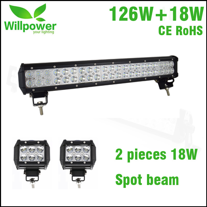 Dual rows 126W 20 inch offroad led light bar 4x4 for JEEP with 2 pcs 4 inch 18w led work light spot beam led light beam