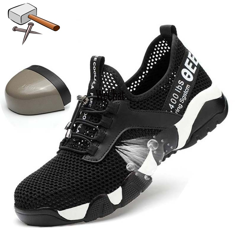 Summer lightweight steel toecap men women work  amp  safety boots breathable male female shoes plus size 37-45