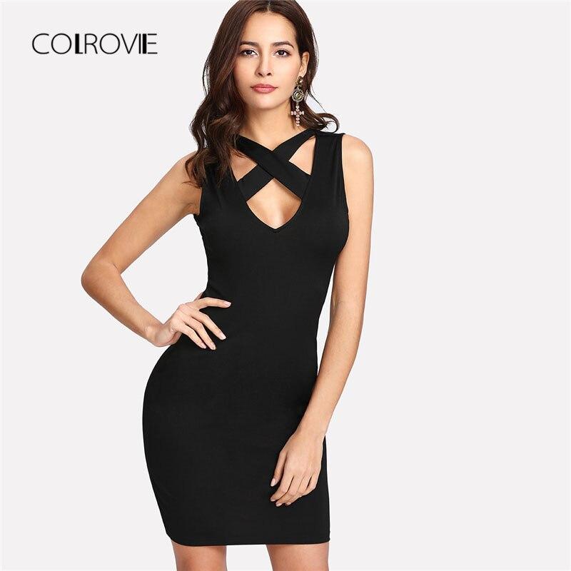COLROVIE Crisscross Front Bodycon Dress 2018 Deep V Neck Sleeveless Short Bodycon Summer High Waist Criss Cross Female Dress