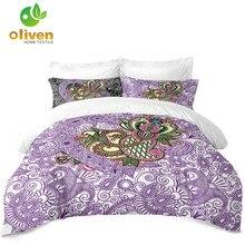 Купить с кэшбэком Boho Tribal Bedding Set Purple Heart Flowers Design Duvet Cover Set Couples Bedding Valentine's Day Bedroom Decor Bed Cover D35