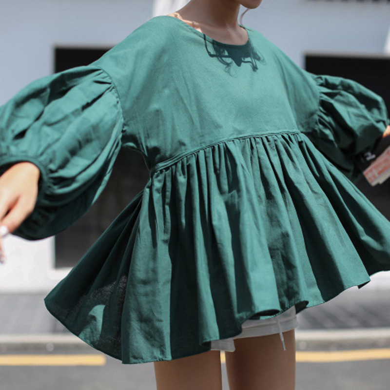 spring autumn puff sleeve ruffle loose cute shirt female all-match slim waist o-neck green shirt top