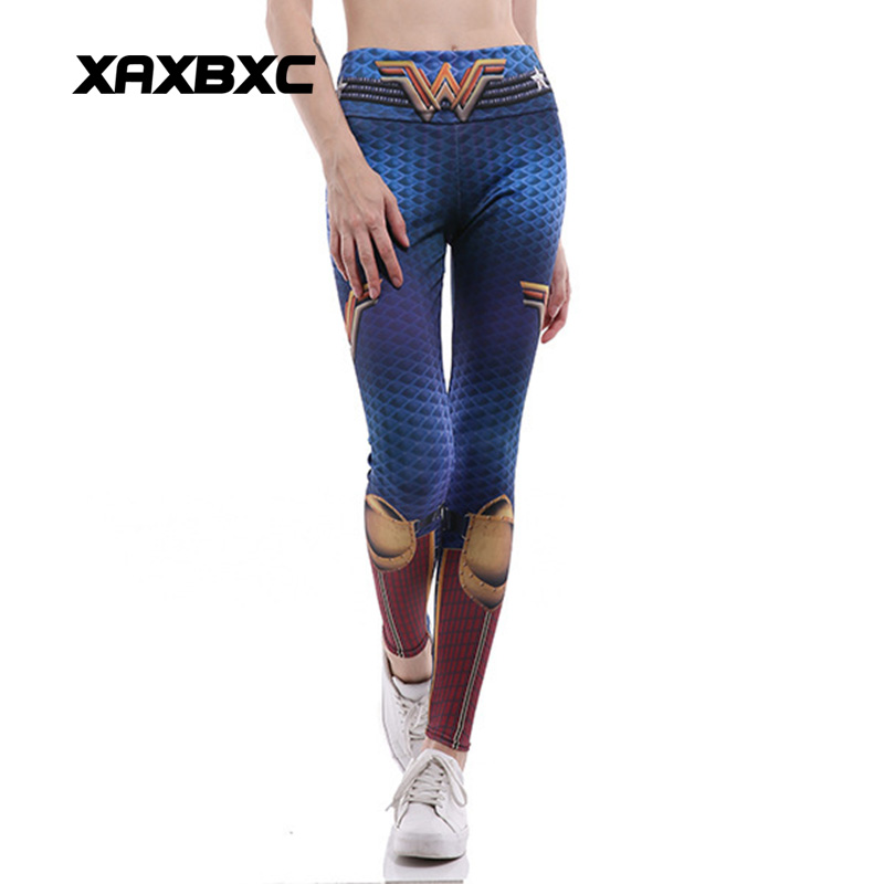 2018 HI-Q Stitch 0293 Wonder Woman Cosplay Prints Slim Fitness Workout Push Up Sexy Femme Pencil Pants Women   Leggings   Plus Size