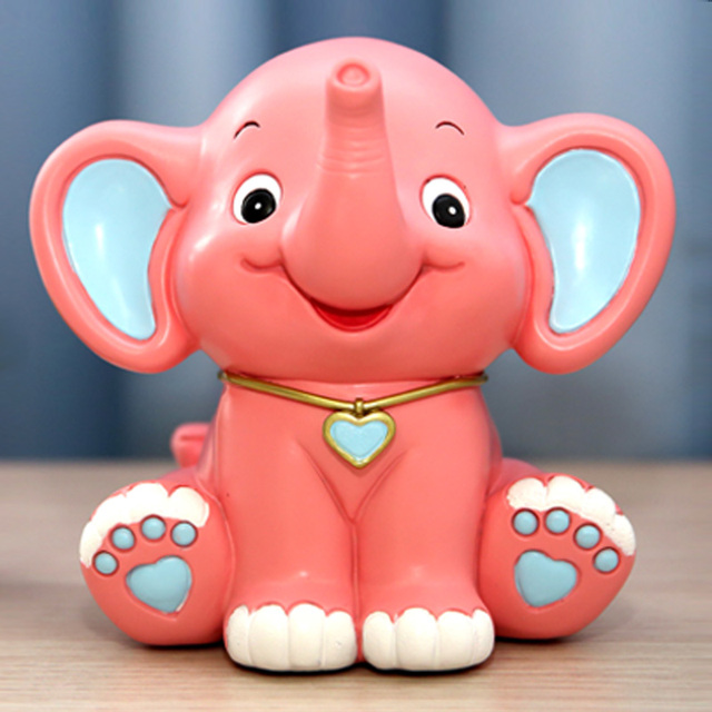 Very cute resin elephant Money Boxes Smiley face animal elephant piggy bank Desktop decoration