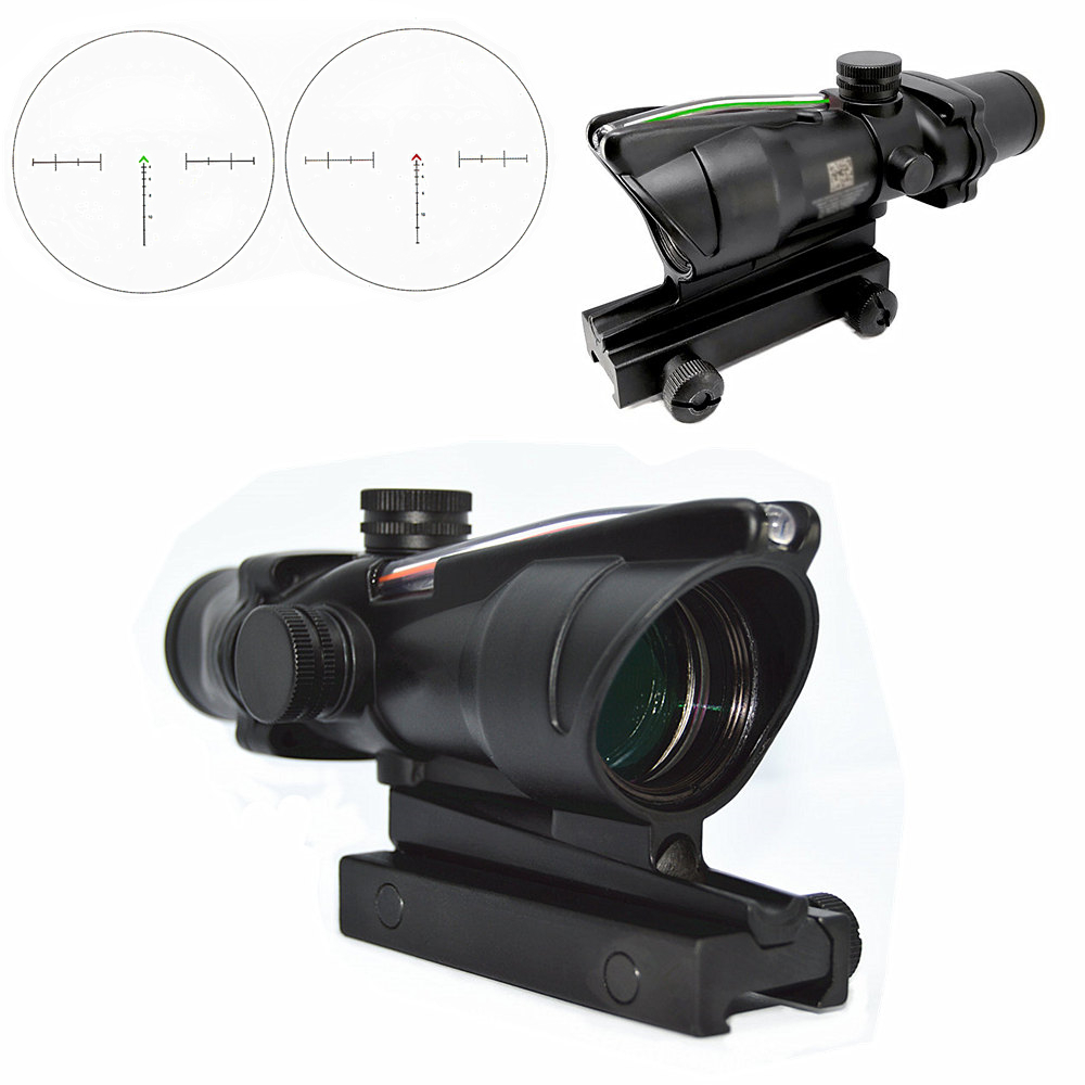 FIRECLUB Tactical Hunting 4X32 ACOG Red or Green Fiber Chevron Reticle Optics Red or Green Illuminated