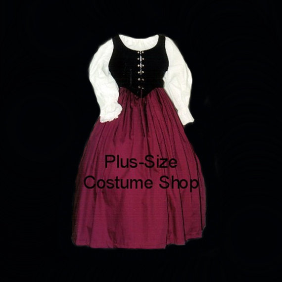 Burgundy RENAISSANCE Gown Dress PLUS Size Halloween Costume Adult Womens  Size 1X 2X 3X 4X 5X 3 pcs New-in Dresses from Women s Clothing on  Aliexpress.com ... 55a05831e240