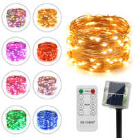 Ruichen Remote Control Solar Powered Led String Lights, 33FT 100 Leds Copper Wire Waterproof 8 modes Fairy Lights for Christmas