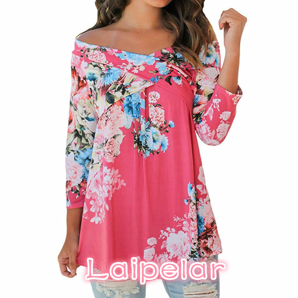 Plus size S 3XL Fashion Floral Print Blusas 2018 Autumn Shirt Women Sexy Off shoulder Slash Neck 3 4 Sleeve Tops Casual t shirt in T Shirts from Women 39 s Clothing