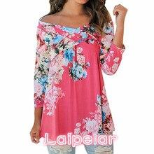Plus size S-3XL Fashion Floral Print Blusas 2018 Autumn Shirt Women Sexy Off shoulder Slash Neck 3/4 Sleeve Tops Casual t shirt