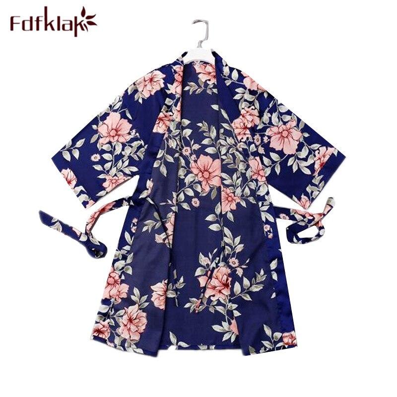 Fdfklak Large Size Silk Robe Women Print Satin Sleepwear Robes Ladies Home Clothes Bride Robes Female Nightwear Bath Robe Femme