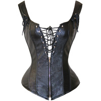 Women S Sexy Steampunk Gothic Corset Sexy PU Leather Lace Corset Black Big Size Overbust Corsets