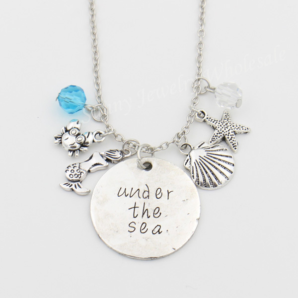 "The Mermaid Necklace,""under the sea""Letter Necklaces,Ariel the Little Mermaid Jewelry,Crab,Starfish,Shell Crystals Necklace"