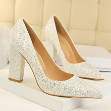 Women shoes high heel 2019 new fashion  thick with shallow mouth was thin and pointed shiny sequins sexy single shoes ms single shoes 2018 british new thick with pointed shoes shallow mouth with low fashion fashion wild shoes a generation