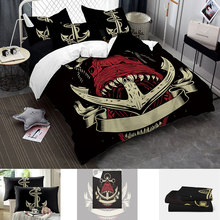 4pcs Nordic Style Bedding Set  3d Skull Pirate SetsFull Queen King Bed Sheet Quilt Cover and Pillows Case Linens E