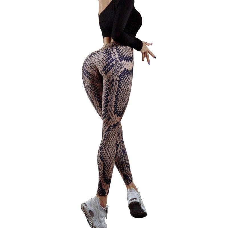 <+>  SALSPOR Сексуальные Женщины Бег Спортивные Брюки Змеиная Кожа Цифровой Леггинсы с Талией Push Up Kee ①