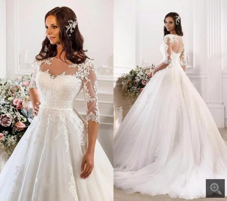 Jeweled Ball Gown Wedding Dresses: Lace Ball Gown Wedding Dresses Illusion Jewel Neck 3/4