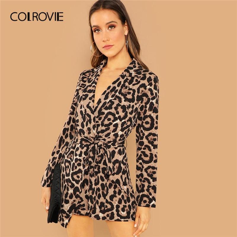 COLROVIE Knot Leopard Print Elegant Jumpsuit Romper Women Clothes Autumn Office Long Sleeve Sexy Playsuit Ladies Jumpsuits
