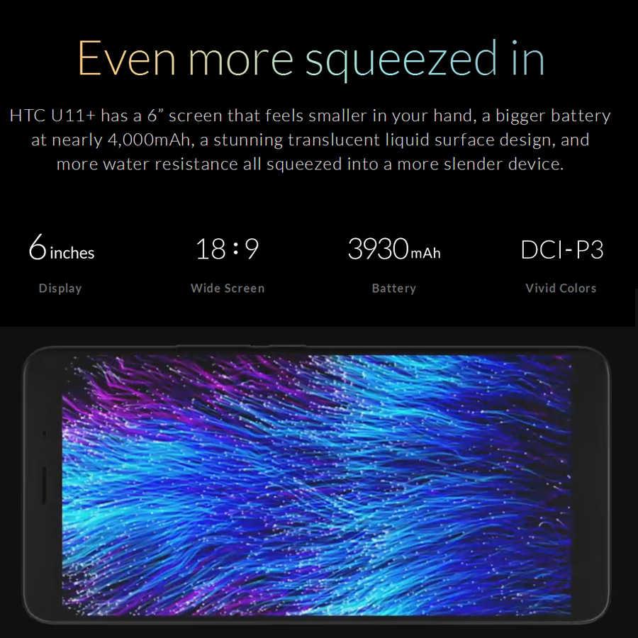 Оригинальный бренд htc U11 Plus U11 + мобильный телефон 6 ГБ ОЗУ 128 Гб ПЗУ Snapdragon 835 OctaCore 6,0 дюймов 1440x2880px Android 8,0 IP68 NFC