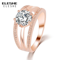 ELESHE Austrian Crystal Ring Rose Gold Color Flower Finger Ring Engagement Rings for Women Wedding Party Jewelry anillos anel