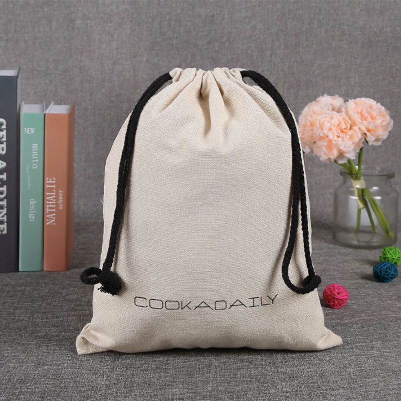 100pcs Print Logo Canvas Drawstring Bag Travel Drawstring Pouch Pure Cotton Cloth Bags Storage Bag For Christmas Gift Package