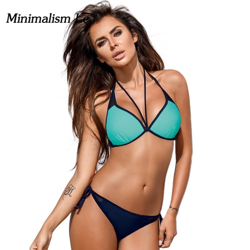 Minimalism Le Sexy Print Patchwork Women Swimwear Bikini 2018 Solid Badmode Swimsuit Halter Badpak Monokini Bathing Suits