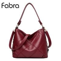 Fabra Fashion PU Leather Handbag Women Messenger Bags Vintage Shoulder Crossbody Bags Small Casual Tote Wine