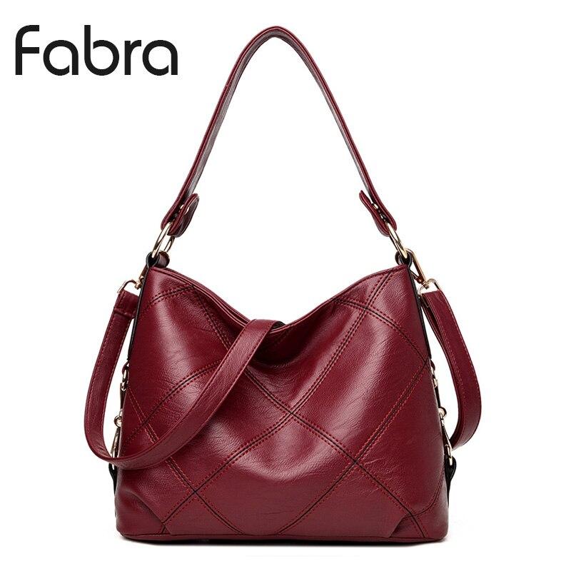 Fabra Fashion PU Leather Handbag Women Messenger Bags Vintage Shoulder Crossbody Bags Small Casual Tote Wine Red 29x12x24 CM