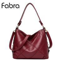 Fabra Fashion PU Leather Handbag Women Messenger Bags Vintage Shoulder Crossbody Bags Small Casual Tote Wine