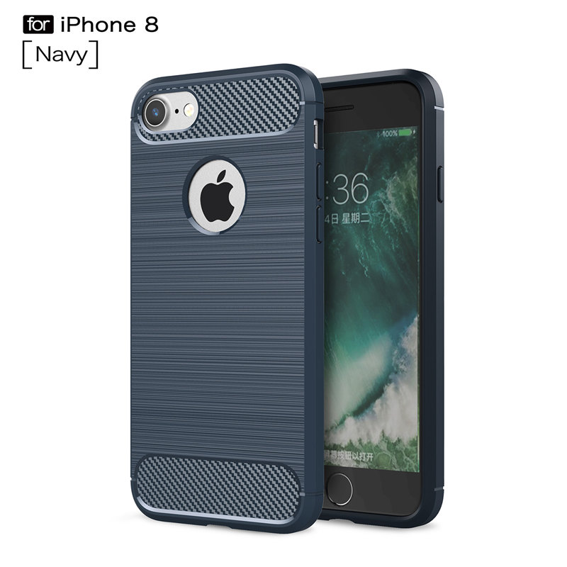 For Iphone 8 case Fashion Brush Carbon Fiber Shockproof Texture Soft TPU Back Cover silicon Cases for Apple Iphone 8 Plus Coque