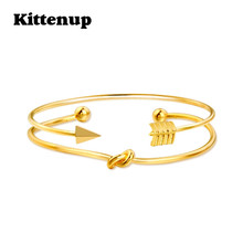 Kittenup New Trendy 2 Piece Boho Gold Color Arrow Feather Twisted Rope Charm Bangles Jewelry Gifts For Women Classic Bracelet