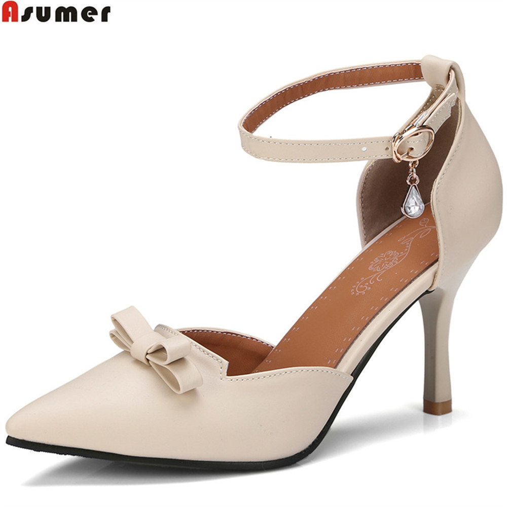 ASUMER black pink beige fashion spring autumn shoes woman pointed toe buckle thin heel women high heels shoes size 33-43 spring autumn shoes woman pointed toe metal buckle shallow 11 plus size thick heels shoes sexy career super high heel shoes